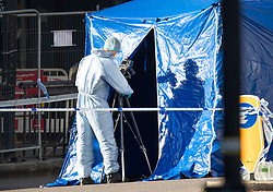 © Licensed to London News Pictures. 30/11/2019. London, UK. A forensics officer photographs evidence on London Bridge. Two people were killed and three injured after the attacker, named by police as 28-year-old Usman Khan stabbed a man and a woman to death on London Bridge. Photo credit: Peter Macdiarmid/LNP