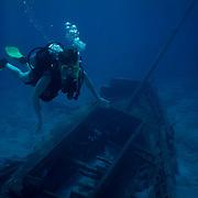 Diver on shipwreck. Cozumel, Quintana Roo. Mexico.