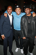 l to r: Derek ' D-Nice' Jones, Russell Simmons and Damon Dash at The Rush Philanthropic 2nd Annual Gold Rush Awards Presented by Danny Simmons and Russell Simmons which was held at The Red Bull Space on March 18, 2010 in New York City. Terrence Jennings/Retna..The Gold Rush Awards celebrates and recognizes trailblazers in the Arts Industry who shape contemporary arts and culture across creative disciplines.
