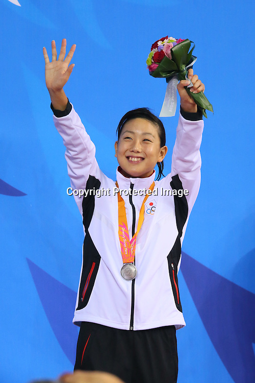 Chihiro Igarashi (JPN), <br /> SEPTEMBER 24, 2014 - Swimming : <br /> Women's 200m Freestyle Medal Ceremony <br /> at Munhak Park Tae-hwan Aquatics Center <br /> during the 2014 Incheon Asian Games in Incheon, South Korea. <br /> (Photo by YUTAKA/AFLO SPORT)