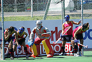 Maria Angeles RUIZ (GK) controls the defensive line during the BDO Women's Champions Challenge 1 match between South Africa and Spain held at the Hartleyvale Stadium in Cape Town, South Africa on the 17 October 2009 ..Photo by RG/www.sportzpics.net.+27 21 (0) 21 785 6814