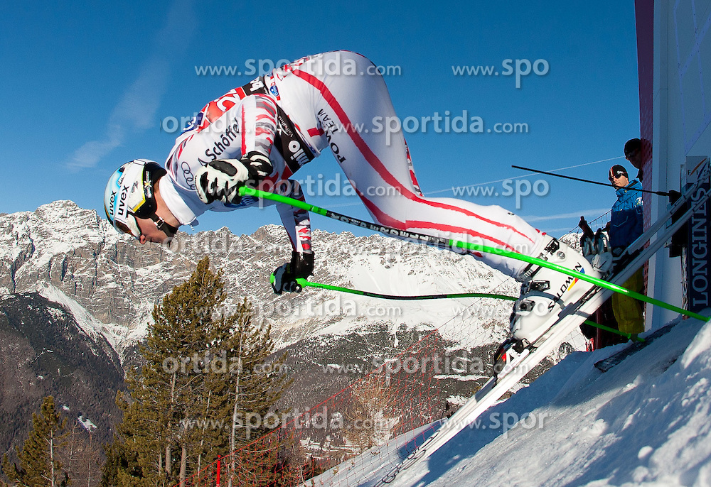 27.12.2011, Pista Stelvio, Bormio, ITA, FIS Weltcup Ski Alpin, Herren, Abfahrt, 1. Training, im Bild am Start Hannes Reichelt (AUT) // Hannes Reichelt of Austria at the start during first practice session downhill of FIS Ski Alpine World Cup at 'Pista Stelvio' in Bormio, Italy on 2011/12/27. EXPA Pictures © 2011, PhotoCredit: EXPA/ Johann Groder