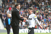Derby County Manager Frank Lampard congratulates Derby County midfielder Harry Wilson (7) during the EFL Sky Bet Championship match between Derby County and West Bromwich Albion at the Pride Park, Derby, England on 5 May 2019.