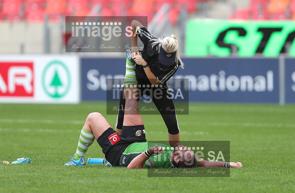 PORT ELIZABETH, SOUTH AFRICA - Saturday 25 April 2015, Elric van Vuuren of SWD Eagles receives medical attention during the Vodacom Cup rugby match between Eastern Province Kings and SWD Eagles at the Nelson Mandela Bay stadium. <br /> Photo by Richard Huggard/ImageSA/SARU