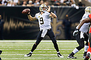 NEW ORLEANS, LA - SEPTEMBER 20:  Drew Brees #9 of the New Orleans Saints throws a pass during a game against the Tampa Bay Buccaneers at Mercedes-Benz Superdome on September 20, 2015 in New Orleans Louisiana.  The Buccaneers defeated the Saints 26-19.  (Photo by Wesley Hitt/Getty Images) *** Local Caption *** Drew Brees