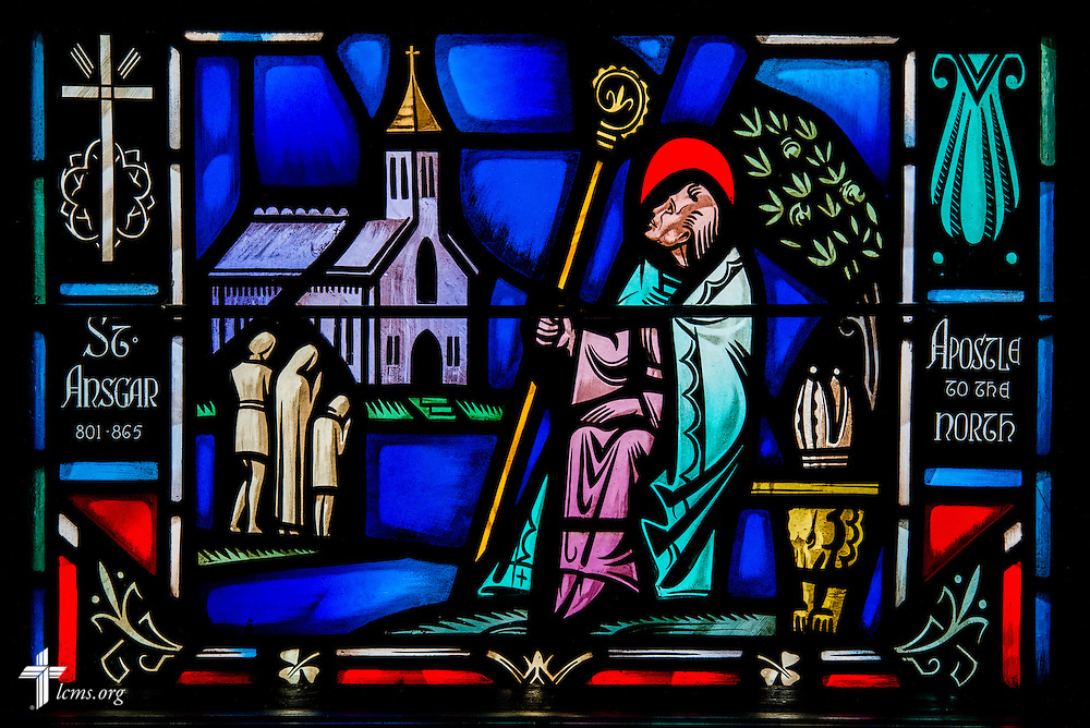 Stained glass at Luther Memorial Chapel depicts St. Ansgar, apostle to the North, on Friday, Jan. 29, 2016, in Shorewood, Wis. LCMS Communications/Erik M. Lunsford