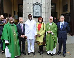 Pictured after the Mass of thanksgiving at St Mary's Church Westport where 35 year's of Westport /Aror Partnership was celebrated were Bishop Cornelius Korir Bishop of Aror, Michael O'Donnell Chairman of Westport Aror Partnership, His Excellency Richard Opembe Ambassador of Kenya, Suzanne Opembe, Archbishop of Tuam Dr. Michael Neary and Pearse O'Malley Westport Aror Committe.<br /> Pic Conor McKeown