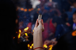 April 14, 2018 - Kathmandu, Nepal - Nepalese offer incense at the temple on Nepali New year Day in Kathmandu, Nepal, April 14, 2018. (Credit Image: © Sunil Pradhan/NurPhoto via ZUMA Press)