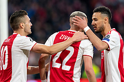 08-05-2019 NED: Semi Final Champions League AFC Ajax - Tottenham Hotspur, Amsterdam<br /> After a dramatic ending, Ajax has not been able to reach the final of the Champions League. In the final second Tottenham Hotspur scored 3-2 / Hakim Ziyech #22 of Ajax scores 2-0, Dusan Tadic #10 of Ajax, Noussair Mazraoui #12 of Ajax