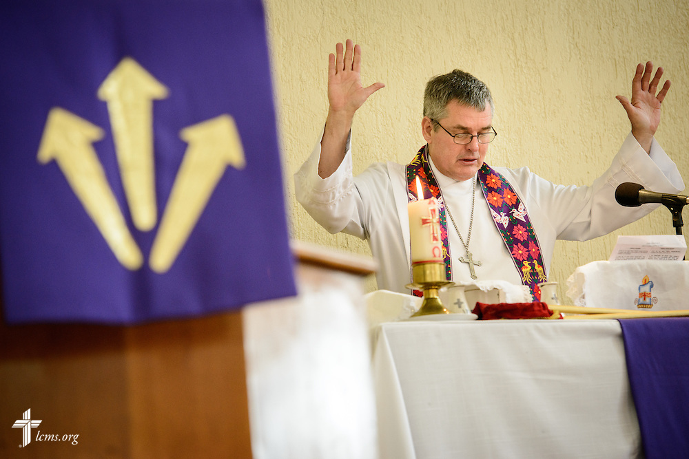 The Rev. Daniel Conrad, LCMS missionary to Mexico, leads worship at the Lutheran Church of San Pedro on Sunday, Feb. 14, 2016, in Mexico City, Mexico. LCMS Communications/Erik M. Lunsford