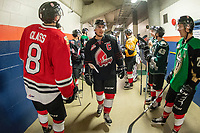 KAMLOOPS, CANADA - NOVEMBER 5:  Team WHL gets ready for warm up against the Team Russia on November 5, 2018 at Sandman Centre in Kamloops, British Columbia, Canada.  (Photo by Marissa Baecker/Shoot the Breeze)