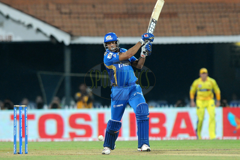 Andrew Symonds of Mumbai Indians bats during match 3 of the NOKIA Champions League T20 ( CLT20 )between the Chennai Superkings and the Mumbai Indians held at the M. A. Chidambaram Stadium in Chennai , Tamil Nadu, India on the 24th September 2011..Photo by Pal Pillai/BCCI/SPORTZPICS