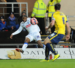 Tranmere Rovers' Janoi Donacien shoots the ball - Photo mandatory by-line: Paul Knight/JMP - Mobile: 07966 386802 - 06/12/2014 - SPORT - Football - Oxford - Kassam Stadium - Oxford United v Tranmere Rovers - FA Cup Second Round