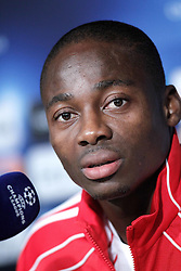 14.09.2010, estadio Santiago Bernabeu, Madrid, ESP, UEFA Champions League, Ajax Amsterdam, Trainning, im Bild Ajax Amsterdam's Eyong Enoh during press conference. EXPA Pictures © 2010, PhotoCredit: EXPA/ Alterphotos/ Alvaro Hernandez +++++ ATTENTION - OUT OF SPAIN / ESP +++++ / SPORTIDA PHOTO AGENCY