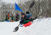 Jonah Bussgang blasts out of the start getting a jump on Baily Carignan during the Boat and Bash Snow Crash event with Franklin's Mill City Park at the Veteran's Memorial Ski Hill on Saturday.  (Karen Bobotas/for the Laconia Daily Sun)