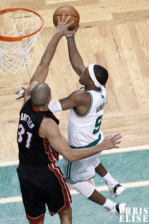 03 June 2012: Boston Celtics point guard Rajon Rondo (9) goes for the layup against Miami Heat small forward Shane Battier (31) during the first quarter of Game 4 of the Eastern Conference Finals playoff series, Heat at Celtics, at the TD Banknorth Garden, Boston, Massachusetts, USA.