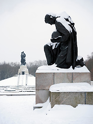 Soviet War memorial in Treptower Park Berlin in the snow in winter 20010
