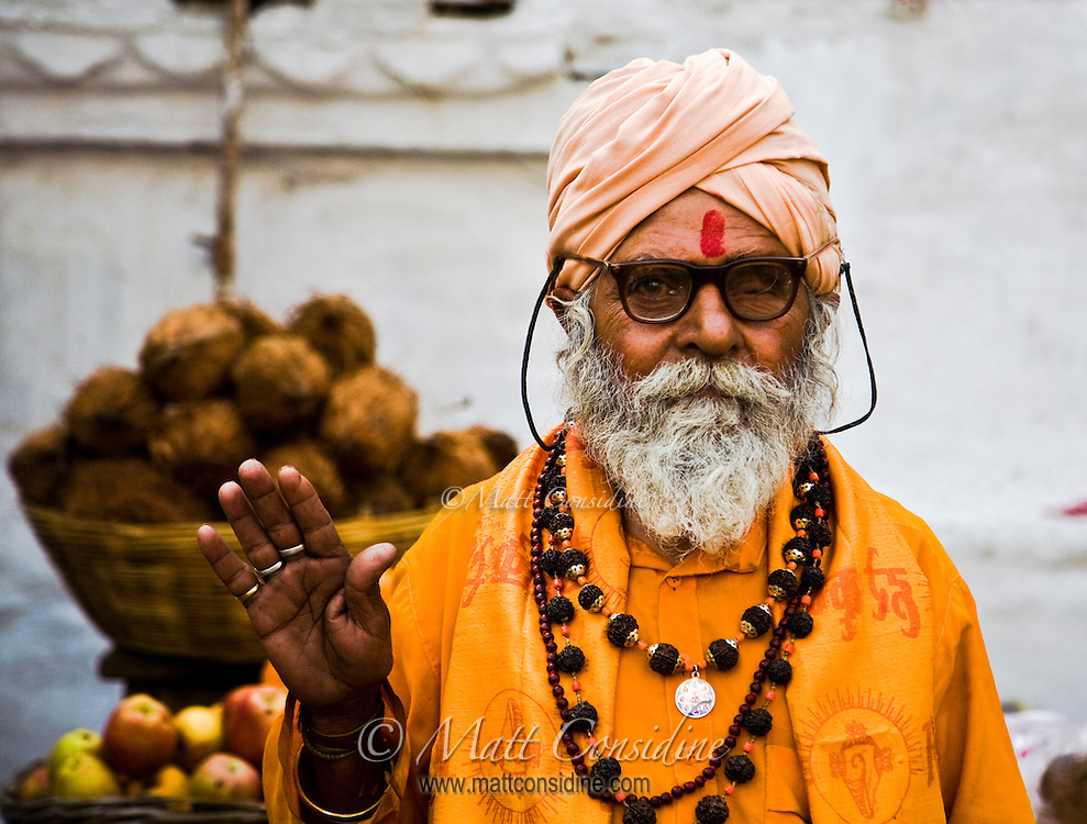 A friendly religious man greets me in Udaipur.<br /> (Photo by Matt Considine - Images of Asia Collection)