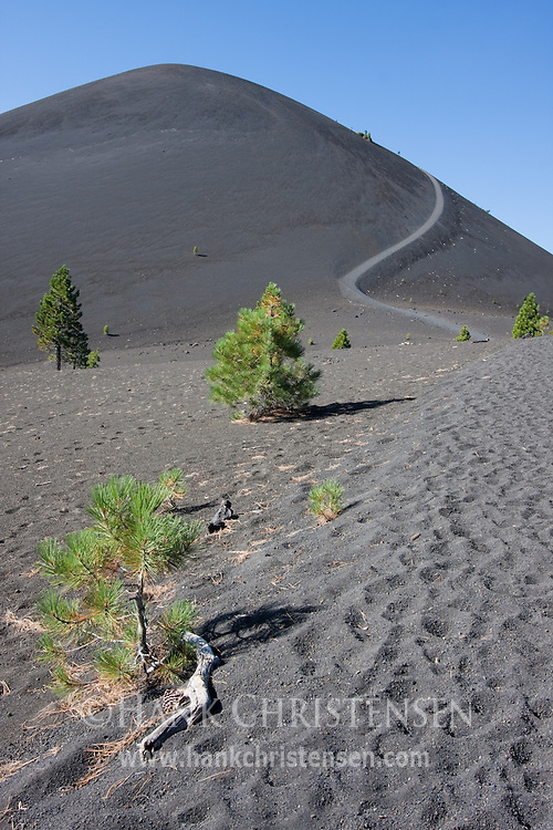 A trail winds up the side of the cinder cone, comprised of loose volcanic ash, Lassen National Park