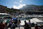 May 23, 2014: Monaco Grand Prix: Clouds roll in over the mountains behind the harbor.