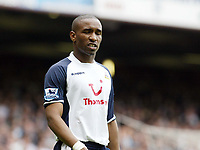 Photo: Chris Ratcliffe.<br /> West Ham United v Tottenham Hotspur. The Barclays Premiership. 07/05/2006.<br /> Ex West Ham player Jermaine Defoe cannot hide his disappointment at not making the Champions League.