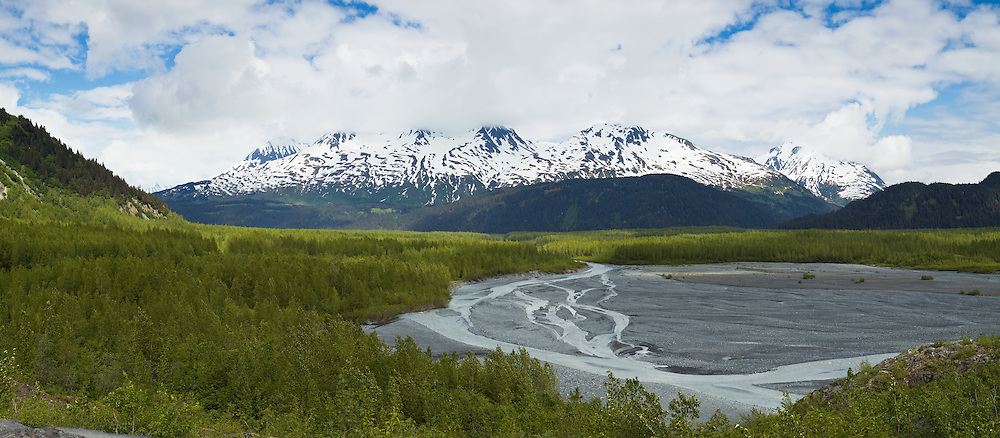 Composite panorama of the outwash plain of Exit Glacier in Kenai Fjords National Park near Seward in Southcentral Alaska. Spring. Afternoon.