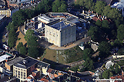 aerial photograph of Norwich Castle , Norfolk, England UK. Norwich Castle was built under the orders of William the Conqueror shortly after the Norman Conquest of 1066. The Castle was captured by Hugh Bigod during the rebellion of 1173-74 but handed back to the Crown at the end of the revolt.The Castle was used as a jail  from 1220 to 1887 and was converted to a museum in 1897, a role which it fulfils to the present day.