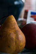 Ripe Pear, Peaches and Bananas photographed in available window light