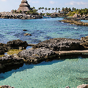 Part of the rocky shore at Xcarat Maya theme park south of Cancun and Playa del Carmen on Mexico's Yucatana Peninsula.
