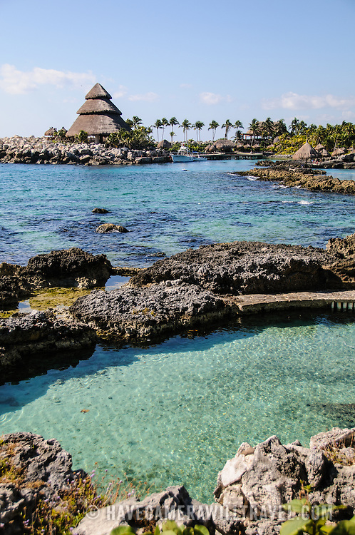 Part of the rocky shore at Xcarat Maya theme park south of Cancun and Playa del Carmen on Mexico's Yucatana Peninsula.