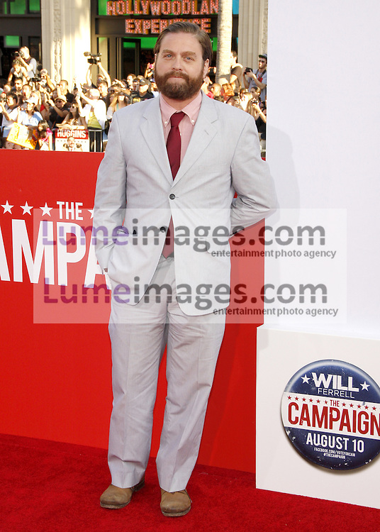 "Zach Galifianakis at the Los Angeles premiere of 'Campaign"" held at the Grauman's Chinese Theater in Hollywood on August 2, 2012. Lumeimages.com"