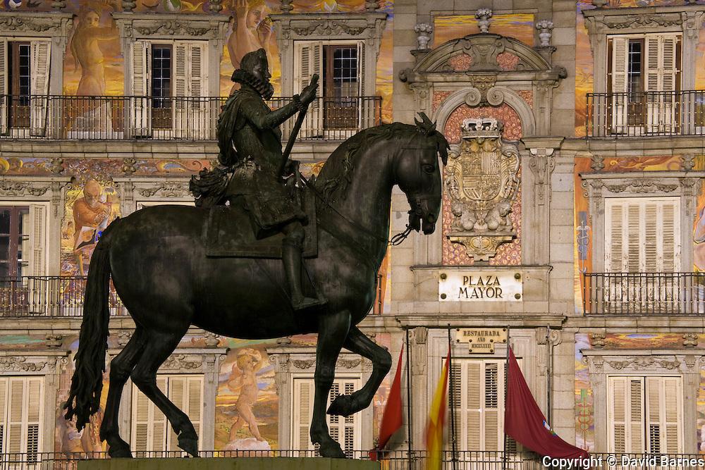 Plaza Mayor with statue of Filipe III, Madrid, Spain
