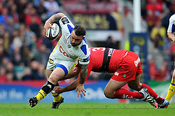 Thomas Domingo of Clermont Auvergne takes on the Toulon defence - Photo mandatory by-line: Patrick Khachfe/JMP - Mobile: 07966 386802 02/05/2015 - SPORT - RUGBY UNION - London - Twickenham Stadium - ASM Clermont Auvergne v RC Toulon - European Rugby Champions Cup Final