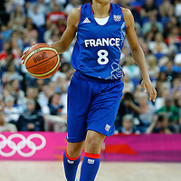 09 August 2012: France Edwige Lawson-Wade brings the ball upcourt during 81-64 Team France victory over Team Russia, during the women's basketball semi-finals, at the 02 Arena, in London, Great Britain.
