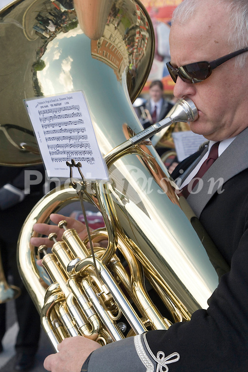 Man playing tuba in brass band,