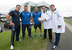 Repro Free: <br /> Bank of Ireland announces details of the 2014 Rugby Sponsor for a Day Competition<br /> <br /> Bank of Ireland is once again opening up its sponsorships of the Munster and Leinster rugby teams to businesses throughout Ireland to compete in its second &lsquo;Sponsor for a Day&rsquo; competition and win the right to have their company logo displayed on the Munster and Leinster players&rsquo; jerseys during a high profile European Rugby Champions Cup match in front of a large live and TV audience.  <br /> <br /> The full prize includes &ndash; the winners company logo on the front of the jerseys; pitch signage; corporate hospitality for ten guests; match programme advert; photographs with the team; promotion for your business from Bank of Ireland and Munster/ Leinster Rugby and Independent News and Media through press and media for all shortlisted companies and winners. The selected games are Leinster vs Castres at the RDS, Dublin on 16 January, 2015 and Munster vs Sale Sharks at Thomond Park, Limerick on 25 January, 2015. Both games will be broadcast live on SKY.<br /> <br /> Companies can enter the competition via www.independent.ie/sponsorforaday from today until the closing date of 10 November, 2014<br /> <br /> Pictured at the launch of the Bank of Ireland &lsquo;Sponsor for a Day&rsquo; competition are last year&rsquo;s Leinster winners, Nigel Gahan, sales manager and James Gahan, production manager, at Gahan Meats with Leinster players Shane Jennings, Mike Ross and Zane Kirchner. Picture Andres Poveda