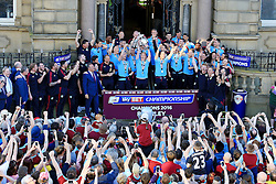 The Burnley FC players lift the SkyBet Championship Trophy outside Burnley Town Hall - Mandatory by-line: Matt McNulty/JMP - 09/05/2016 - FOOTBALL - Burnley Town Hall - Burnley, England - Burnley FC Championship Trophy Presentation