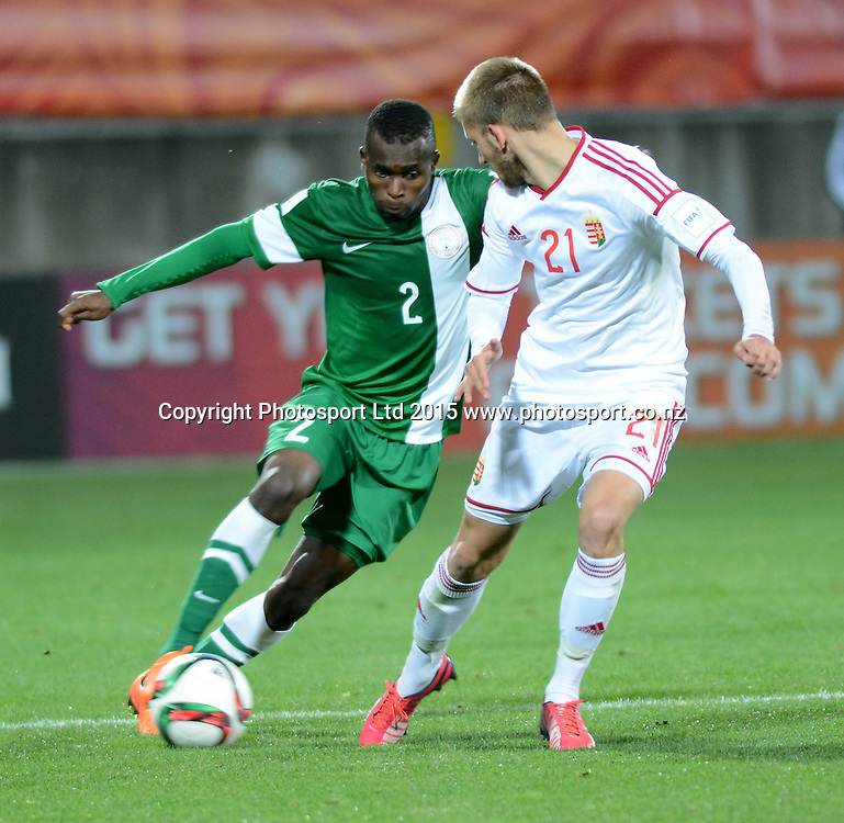 Nigeria's Musa Muhammed and Hungary's David forgacs during the FIFA U-20 World Cup New Zealand. Hungary vs Nigeria, played at Stadium Taranaki, New Plymouth NZ, Sunday 7th June 2015.  <br />  Photo John Velvin / ESPNZ