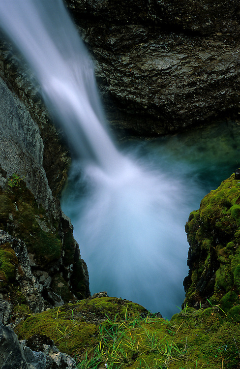 The waterfall at the end of Johnston Canyon trail, in Banff National Park, Alberta