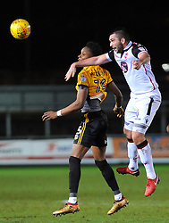 Shawn McCoulsky of Newport County and Alex Kenyon of Morecambe compete for the highball  - Mandatory by-line: Nizaam Jones/JMP- 23/01/2018 - FOOTBALL - Rodney Parade - Newport, Wales- Newport County v Morecambe - Sky Bet League Two