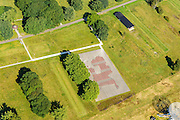 Nederland, Drenthe, Westerbork, 23-08-2016; Herinneringscentrum Kamp Westerbork, voormalig doorgangskamp. Met monumenten die refereren aan voormalige spoorweg, reconstructies van de barakken, appelplaats.<br /> Former Camp Westerbork, National Westerbork Memorial<br /> luchtfoto (toeslag op standard tarieven);<br /> aerial photo (additional fee required);<br /> copyright foto/photo Siebe Swart