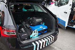 Personalised kit bags are loaded into the Drops Cycling Team team car before Stage 1 of the Emakumeen Bira - a 50 km road race, starting and finishing in Iurreta on May 16, 2017, in Basque Country, Spain.