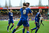 Daryl Murphy (9) of Ipswich Town celebrates after scoring the opening goal with Jonathan Douglas of Ipswich Town during the Sky Bet Championship match at The Valley, London<br /> Picture by Alan Stanford/Focus Images Ltd +44 7915 056117<br /> 28/11/2015
