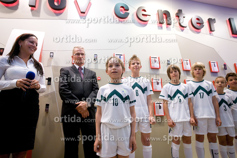Zoran Janko, general manager of Mobitel and young singer Otton Zajec at visit  of Slovenian National Football team in Mobitel center, on May 19, 2010 in Ciytpark, BTC, Ljubljana, Slovenia. (Photo by Vid Ponikvar / Sportida)