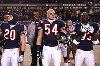 11 December 2008: Linebacker (54) Brian Urlacher of the Chicago Bears listens to the National Anthem before the Bears 27-24 overtime victory over the Saints at Soldier Field in Chicago, IL.
