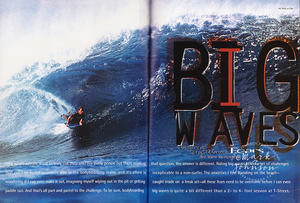 Pit Bodyboarding Magazine, double page spread of Jay Reale bodyboarding at the Banzai Pipeline on the North Shore of Oahu, Hawaii