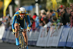 (Geelong, Australia---29 September 2010)  Emilia Fahlin of Sweden powers to the finish in the Elite Women's Time Trial at the 2010 UCI Road World Championships held in Geelong, Victoria, Australia. [2010 Copyright Sean Burges / Mundo Sport Images -- www.mundosportimages.com]