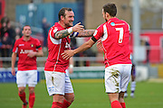 Ebbsfleet United forward Danny Kedwell (9) celebrates Ebbsfleet United midfielder Jack Powell (7) goal 5-1 during the Vanarama National League South match between Ebbsfleet United and East Thurrock United at the Enclosed Ground, Whitehawk, United Kingdom on 4 March 2017. Photo by Jon Bromley.