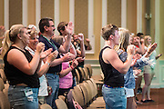 "Students and parents participate in the ""O-H-I-O!"" cheer during Bobcat Student Orientation on Thursday, June 4, 2015.  Photo by Ohio University  /  Rob Hardin"