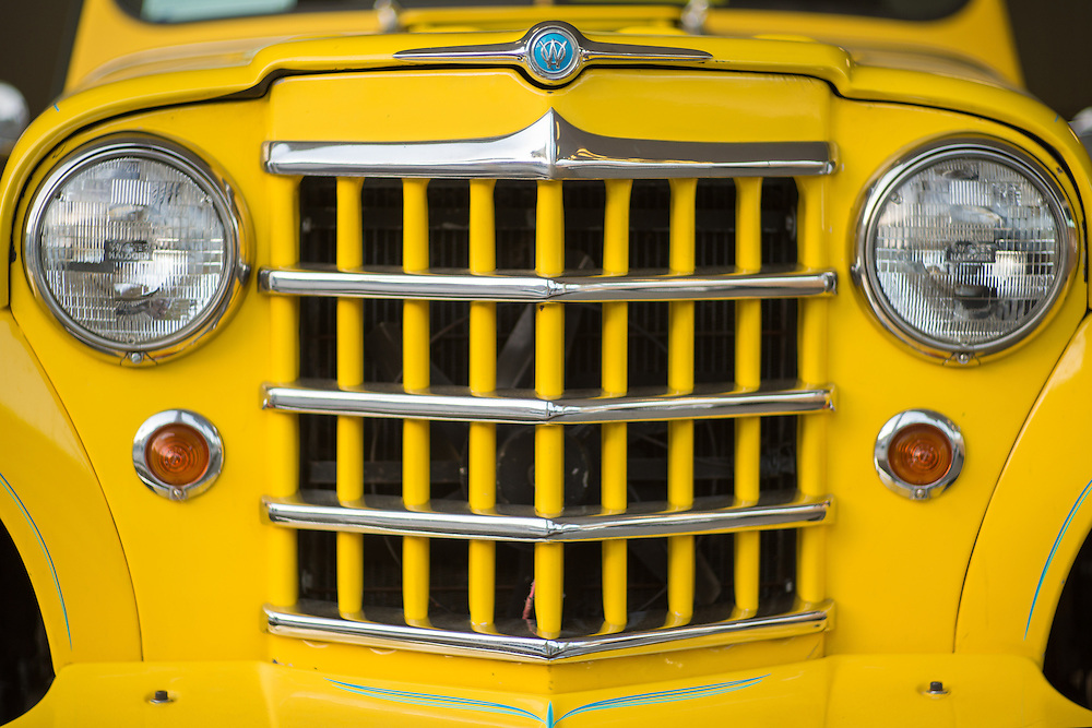 Close up of the front of Willys Jeepster in Palm Springs, California